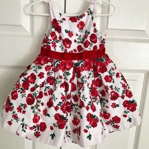 Janie and jack red floral holiday dress 6-12 month